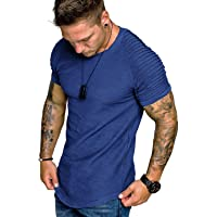 COOFANDY Men's Muscle T-Shirt Pleated Raglan Sleeve Bodybuilding Gym Tee Short Sleeve Fashion Workout Shirts Hipster…