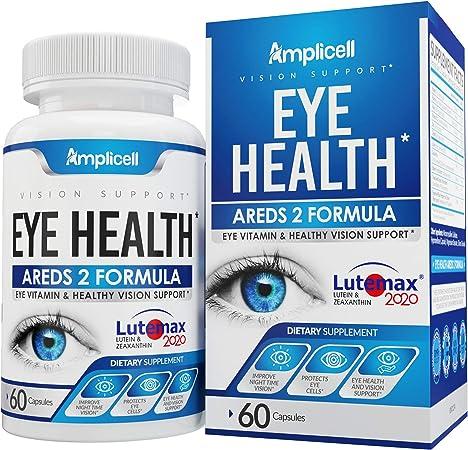 Eye Health AREDS 2 - Eye Vitamins - Lutemax 2020 Lutein and Zeaxanthin - Eye Multi Vitamins for Adults with Vitamin E, Vitamin C, Vitamin B12, Folate & Zinc Vitamins - 60 Eye Wellness Formula Capsules