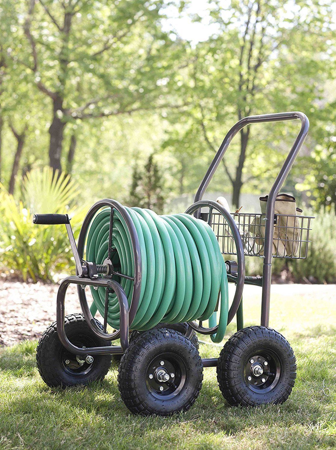 Best Selling Most Popular 4 Wheel Rolling Solid Steel Hose Cart- Rust Weather Resistant With 250' Capacity 5/8'' Hose- Pneumatic Tires Easy Rolling Mounted Basket Carrier Hand Crank Roller Heavy Duty by King Garden