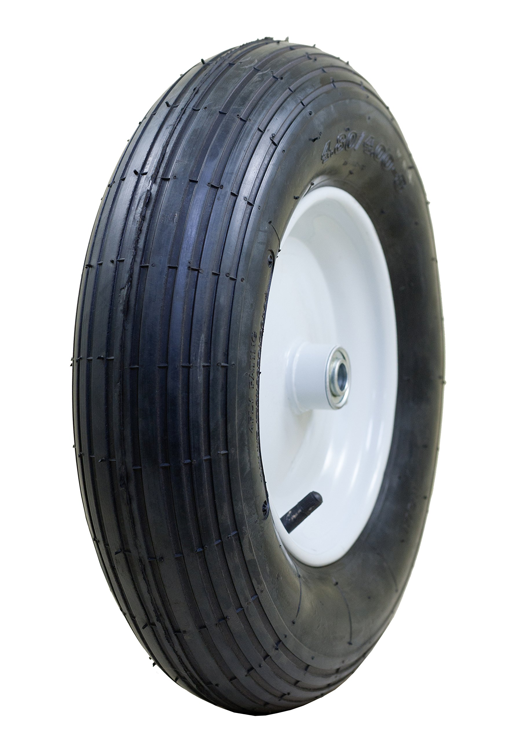 Marathon 4.80/4.00-8'' Pneumatic (Air Filled) Tire on Wheel, 3'' Hub, 3/4'' Bearings, Ribbed Tread by Marathon Industries (Image #1)