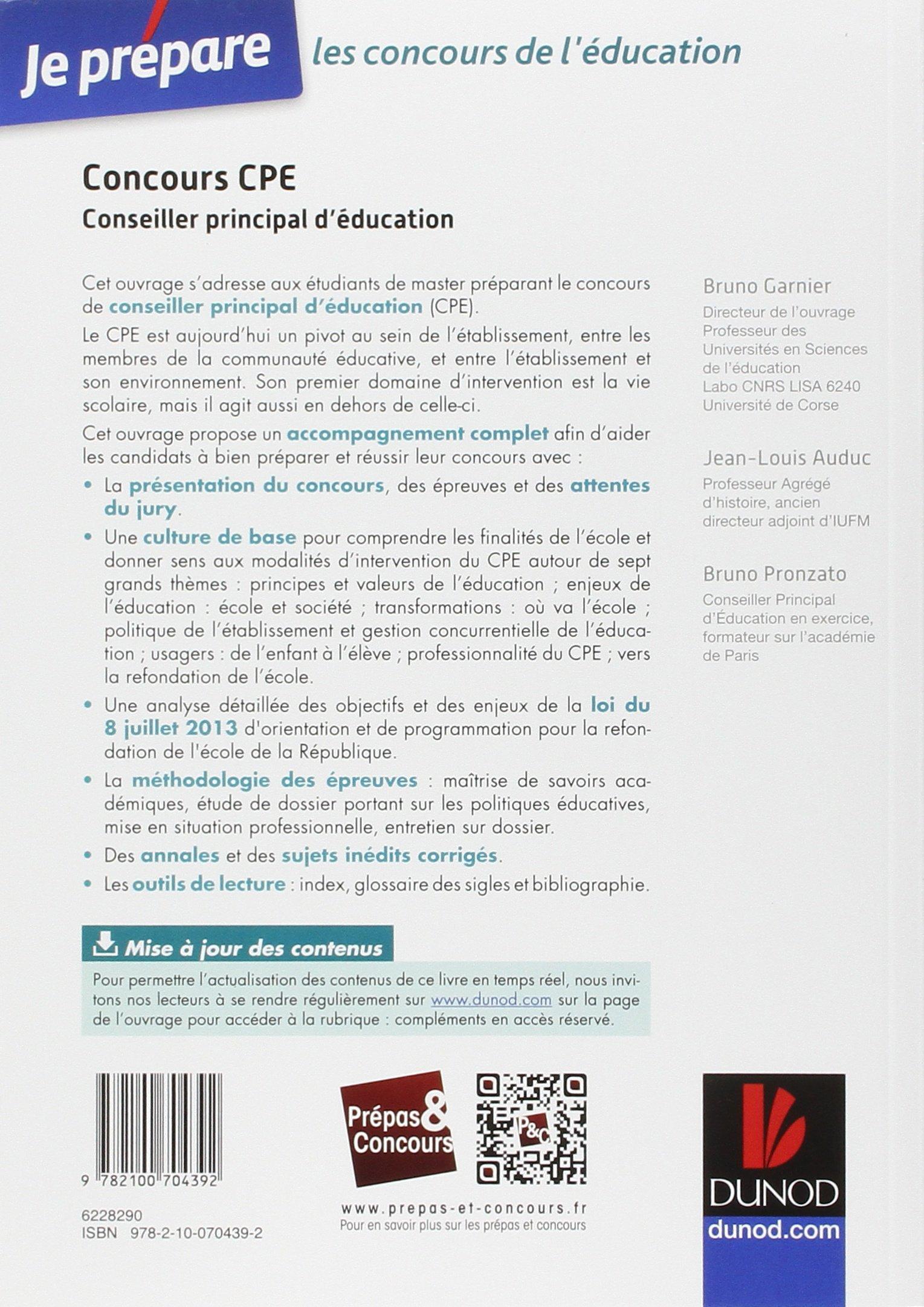 fiche metier conseiller principal d u0026 39 education