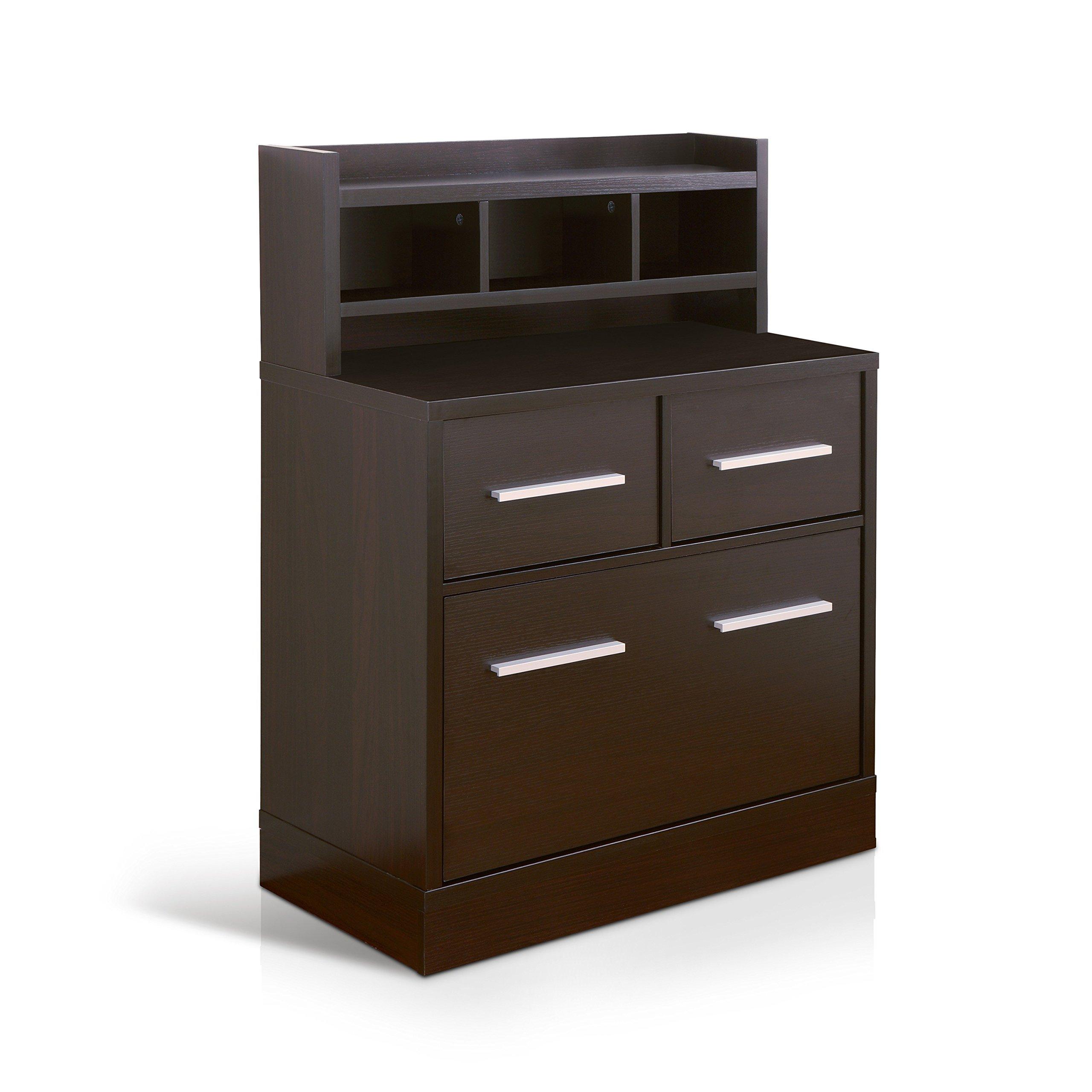 Modern Veneer Wood Cappuccino Multi Storage File Cabinet Work Station