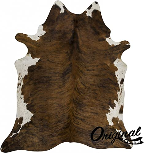 original cowhide Rug Genius Leather Hair on Hides Decorative Value Rare Giant Size Approx 7X8 ft 56-66 sqf Dark Brindle
