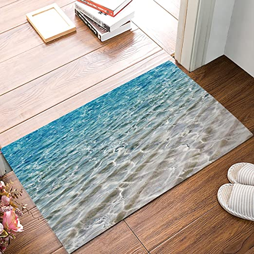 Anti-Slip Kitchen Bathroom Entrance Floor Mats Doormat Sea Scenery Print Carpet