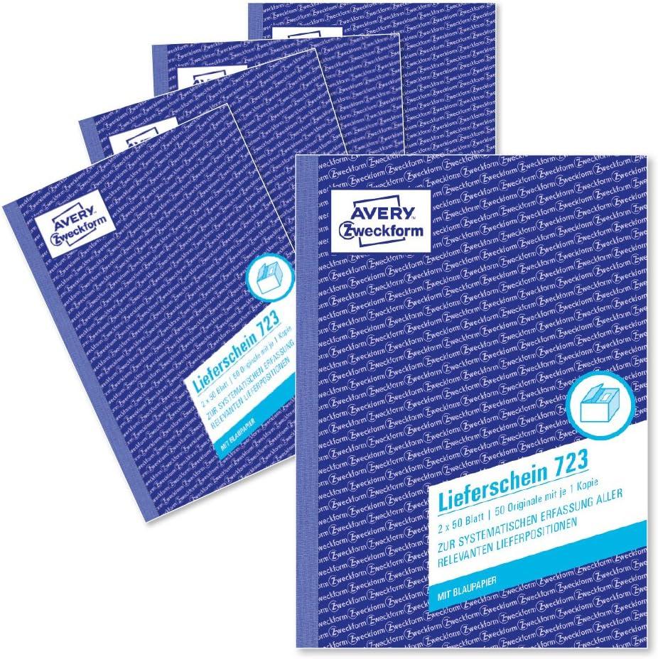 Avery Zweckform 723 5 Lieferschein A5 2x50 Blatt Mit Einem Blatt Blaupapier Und Einem Blanko Durchschlag Zur Systematischen Erfassung Aller Relevanten Lieferpositionen 5er Pack Weiß Bürobedarf Schreibwaren