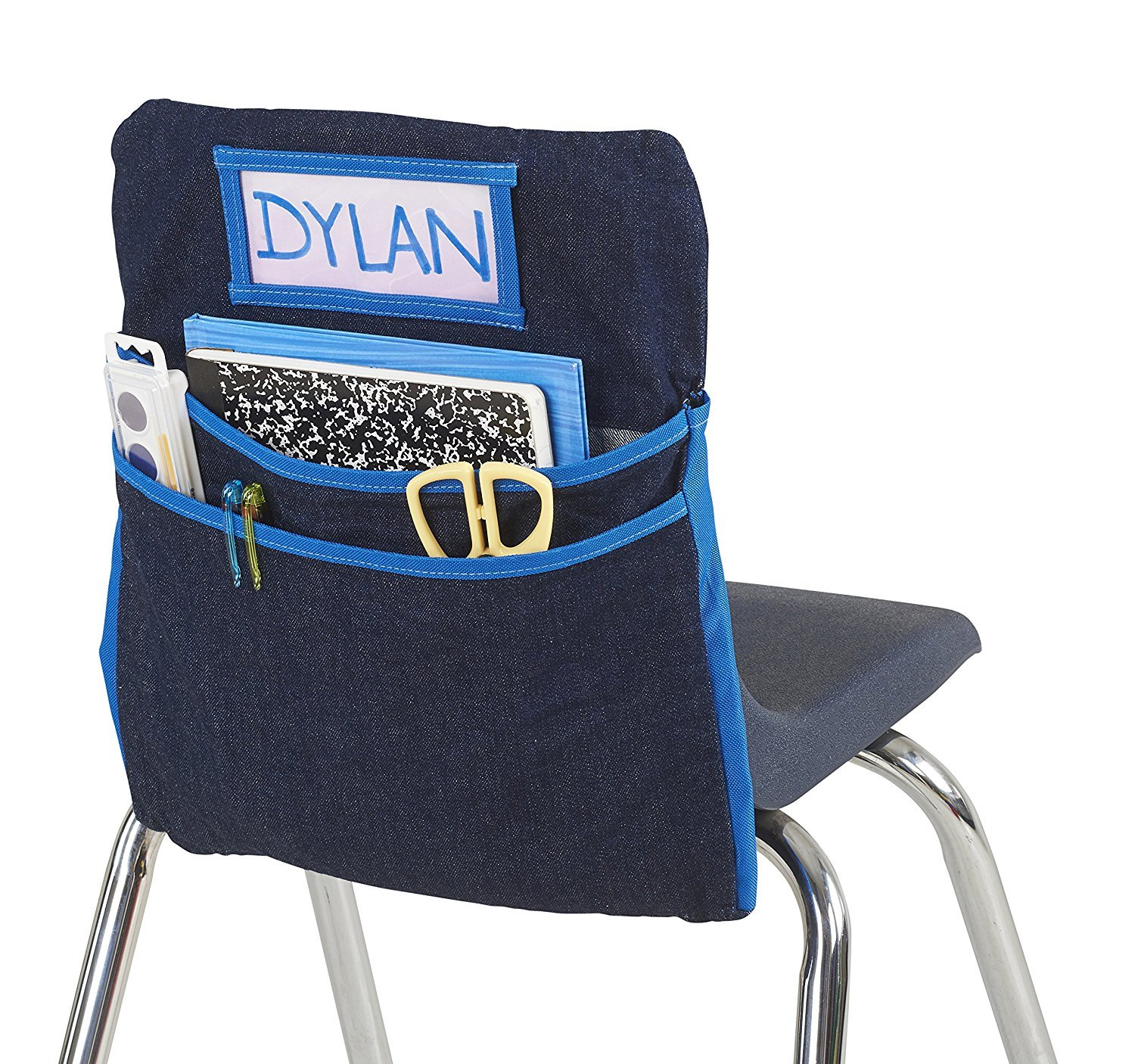 ECR4Kids Classroom Seat Companion with Name Tag Slot, Kids School Supply Chair Pocket Organizer for Classroom/Daycare/Homeschool, Large