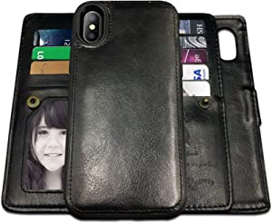 iPhone X Case,iPhone Xs Case Wallet with Magnetic Detachable Case,9 Card Slots,Wrist Strap, CASEOWL 2 in 1 Folio Flip Premium PU Leather Wallet Case for iPhone X/XS/10/10s 5.8 inch(Black)