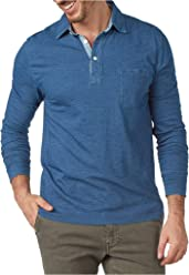 dc7b2573fe09 Faherty Men s Long Sleeve Indigo Cotton Polo
