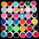 Juego de 36 colores de gel acrílico para decoración de uñas, color liso y puro
