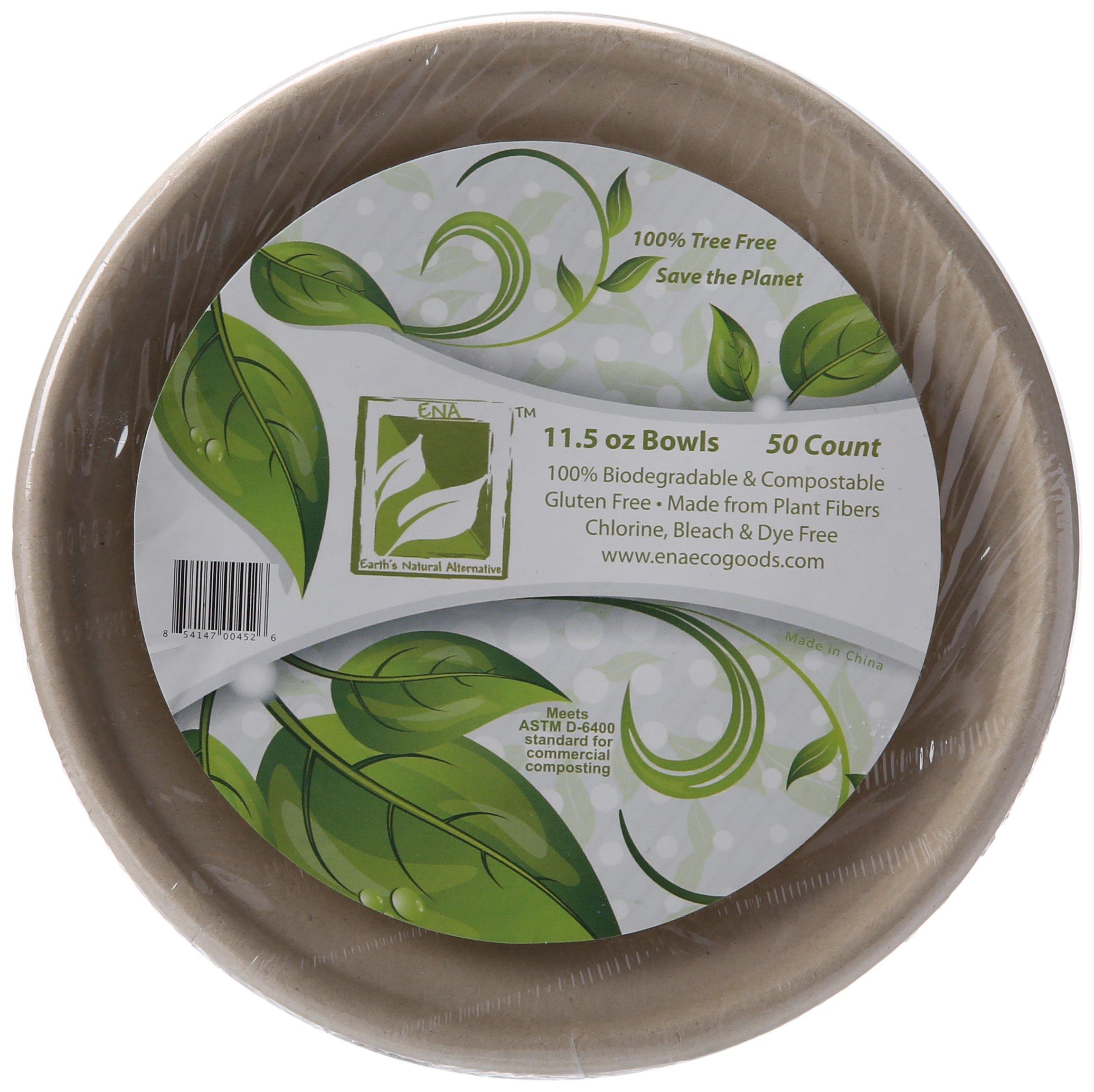 Earth's Natural Alternative Wheat Straw Fiber, Bagasse (Sugarcane) Tree Free 11.5oz Bowl, 50-Pack