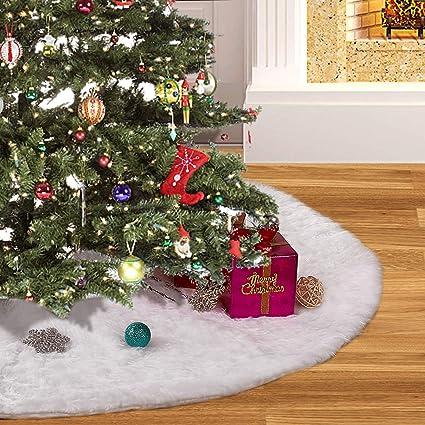 Amazoncom Christmas Tree Skirt 48inches 4ft Luxury White Faux