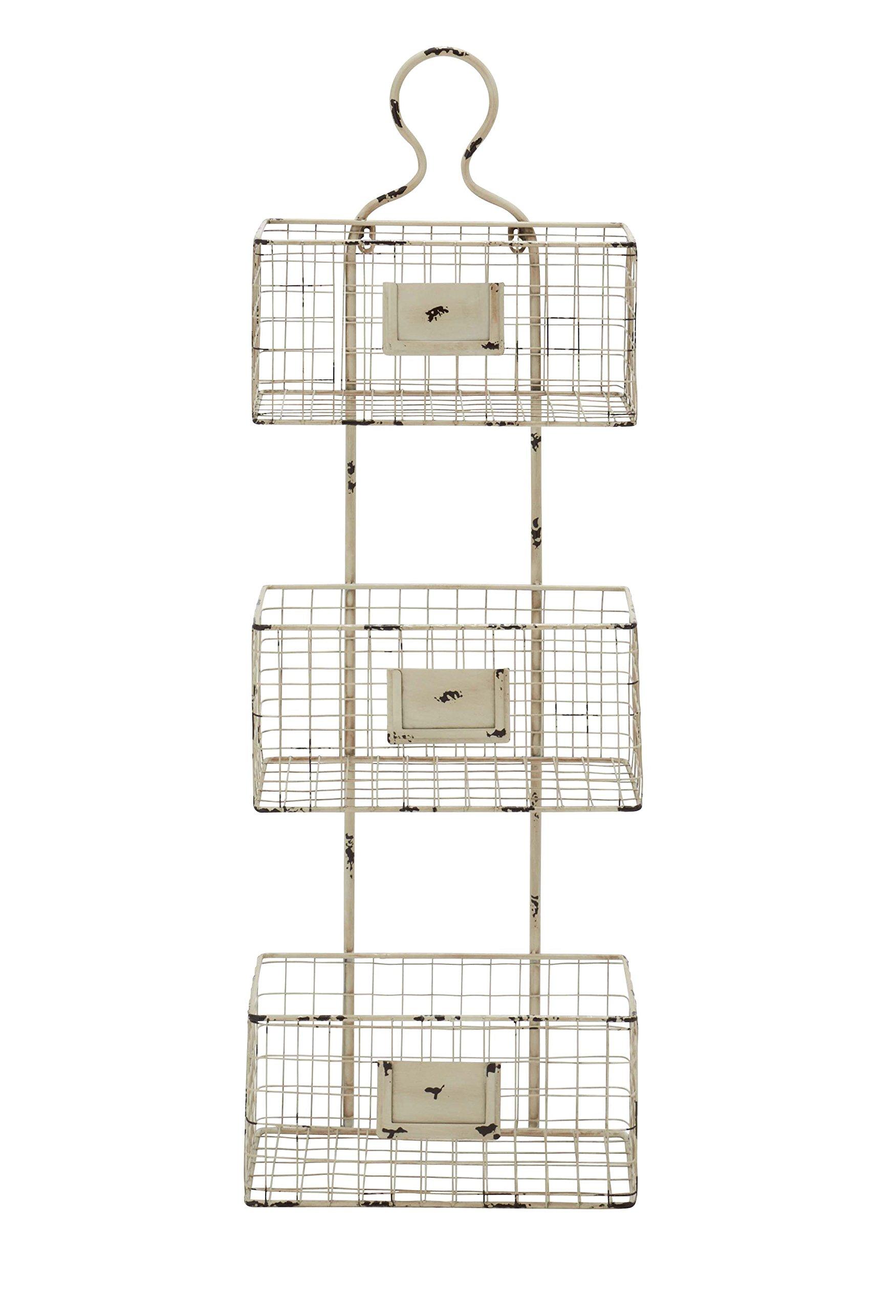 Deco 79 Metal Basket Shelf, 13 by 37-Inch