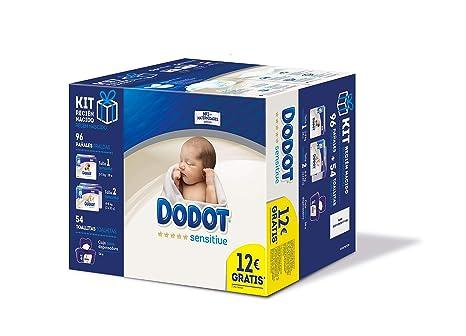 Dodot Sensitive Pañales Talla 1, 28 pañales, 2-5kg + Pañales Talla 2, 68 pañales, 4-8 kg + Dodot Sensitive Toallitas con caja dispensadora, 54 ...