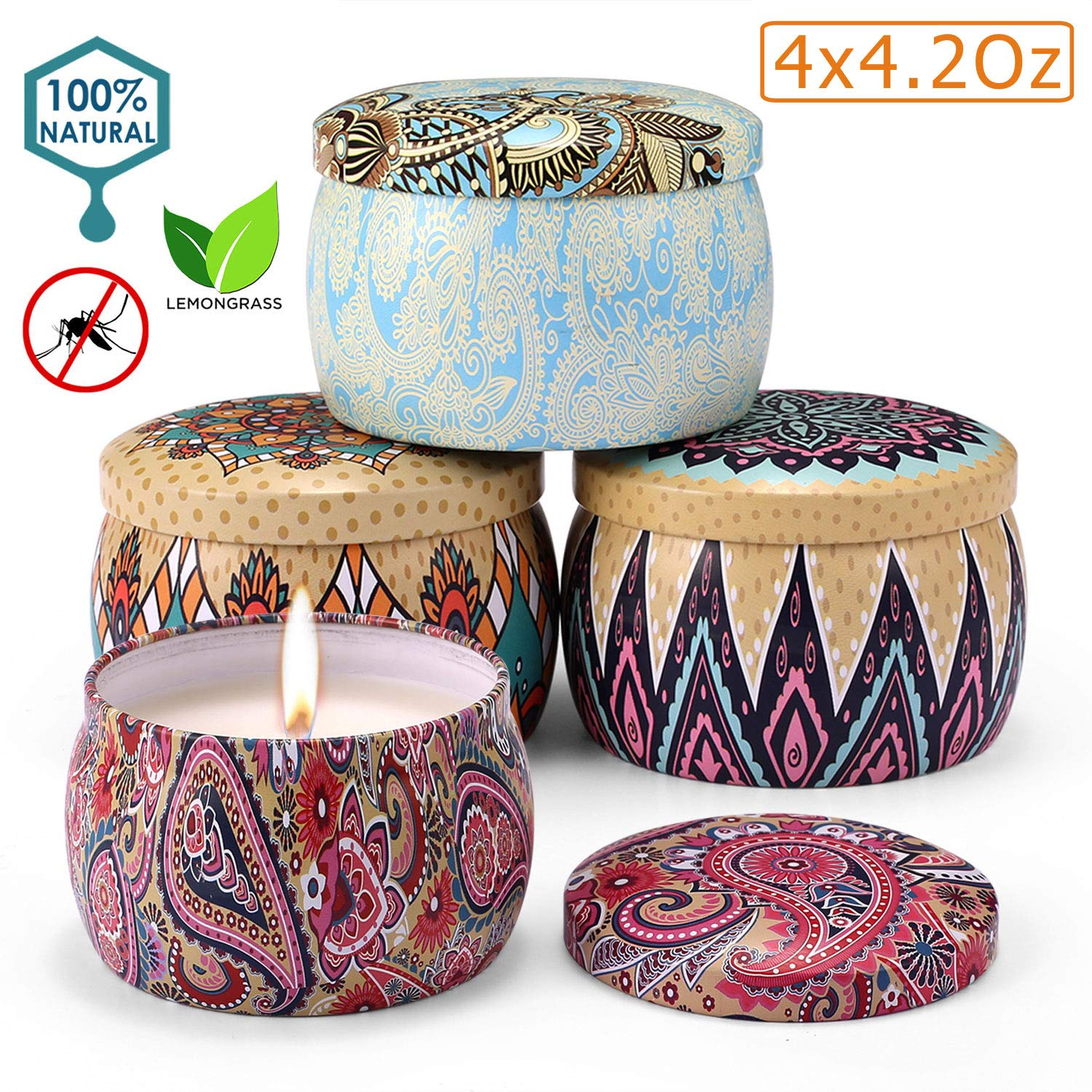 Aromama Citronella Candles Indoor and Outdoor, Scented Natural Soy Wax Portable Travel Tin Candle Gift Set, 4 x 4.2 Oz Pack of 4 by Aromama
