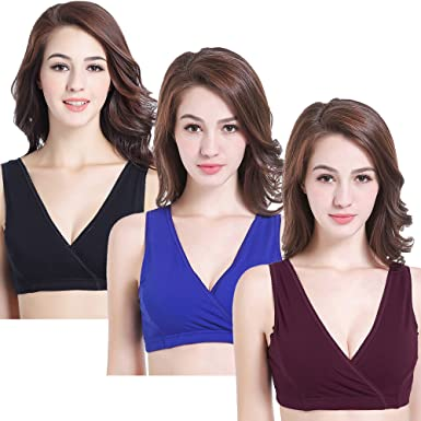 605367f28dccd CAKYE Women s Maternity Nursing Bra for Sleep and Breastfeeding 3 Pcs Pack  (Small
