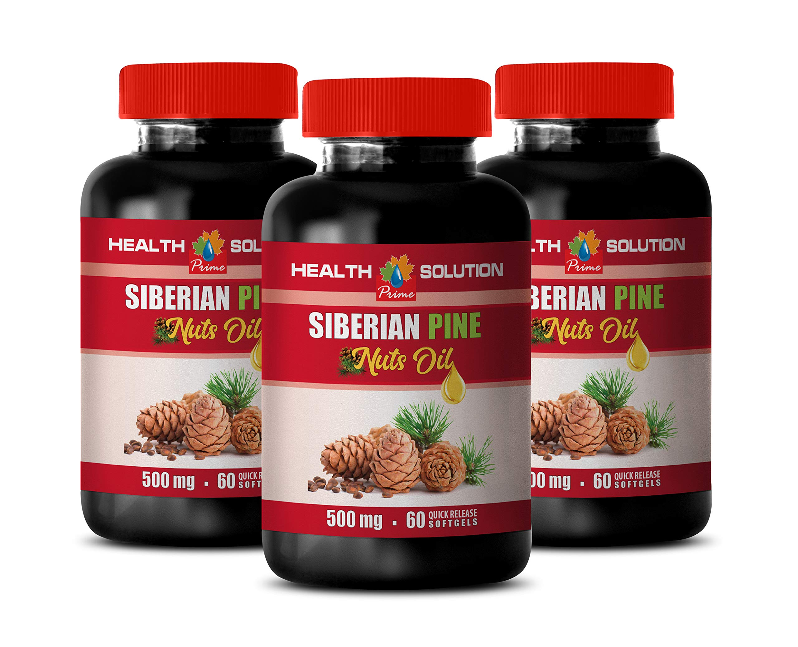 Energy Booster for Women - Siberian Pine NUT Oil - Digestive Supplements for Weight Loss - 3 Bottles 180 Softgels
