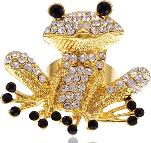 Golden Crystal Elements Happy Frog Prince Fashion Eye Fashion Pin Brooch Jewelry