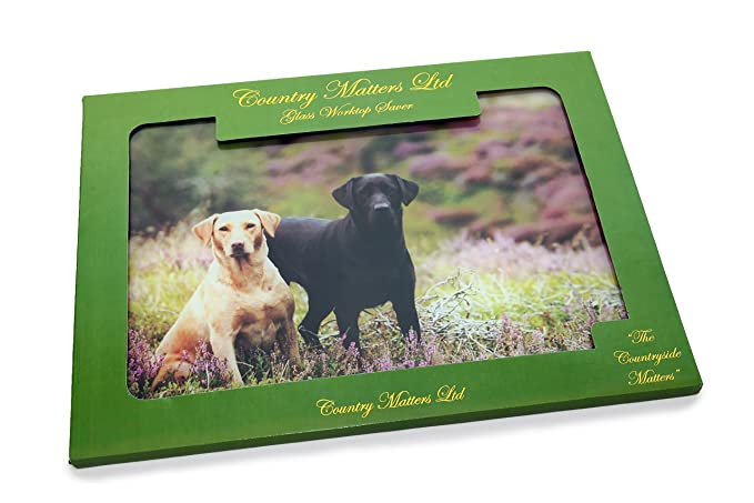 COUNTRY MATTERS Lap Pup in Game Bag Glass Work Top Saver 40 x 30 x 0.05 cm Multi-Colour