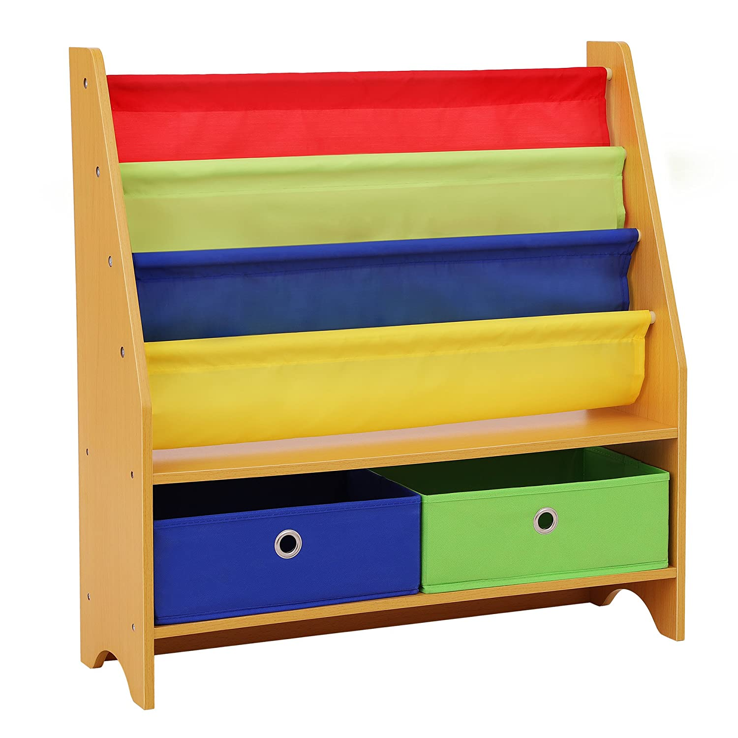 SONGMICS Childrenu0027s Bookcase Rack Sling Book Shelf Toy Storage Organizer  With 2 Fabric Bins And 3