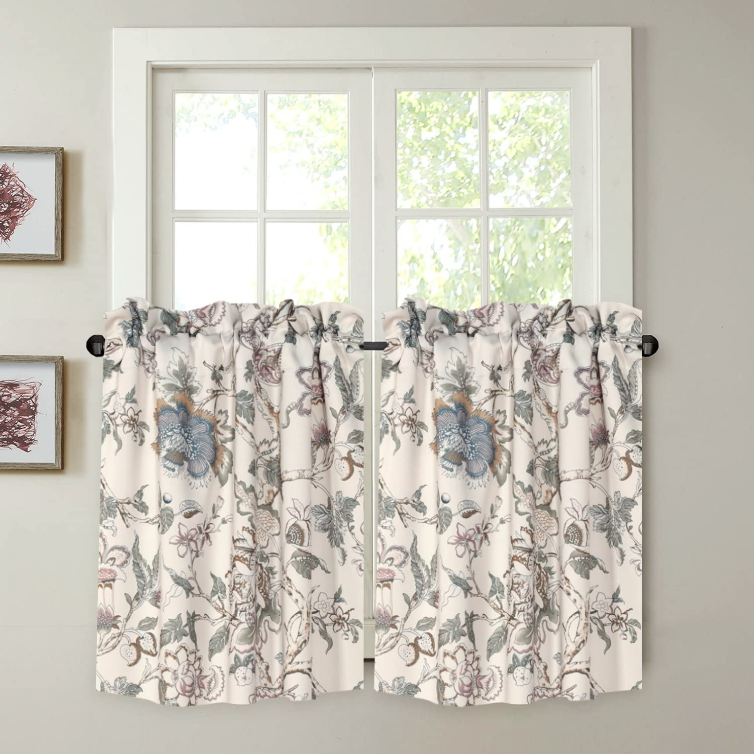 """H.VERSAILTEX Energy Smart Room Darkening Rod Pocket Blackout Curtain Tier Panels Small Window Curtains Multi Size - Vintage Floral Pattern in Sage and Brown - (58"""" W x 24"""" L Pair of Tiers)"""