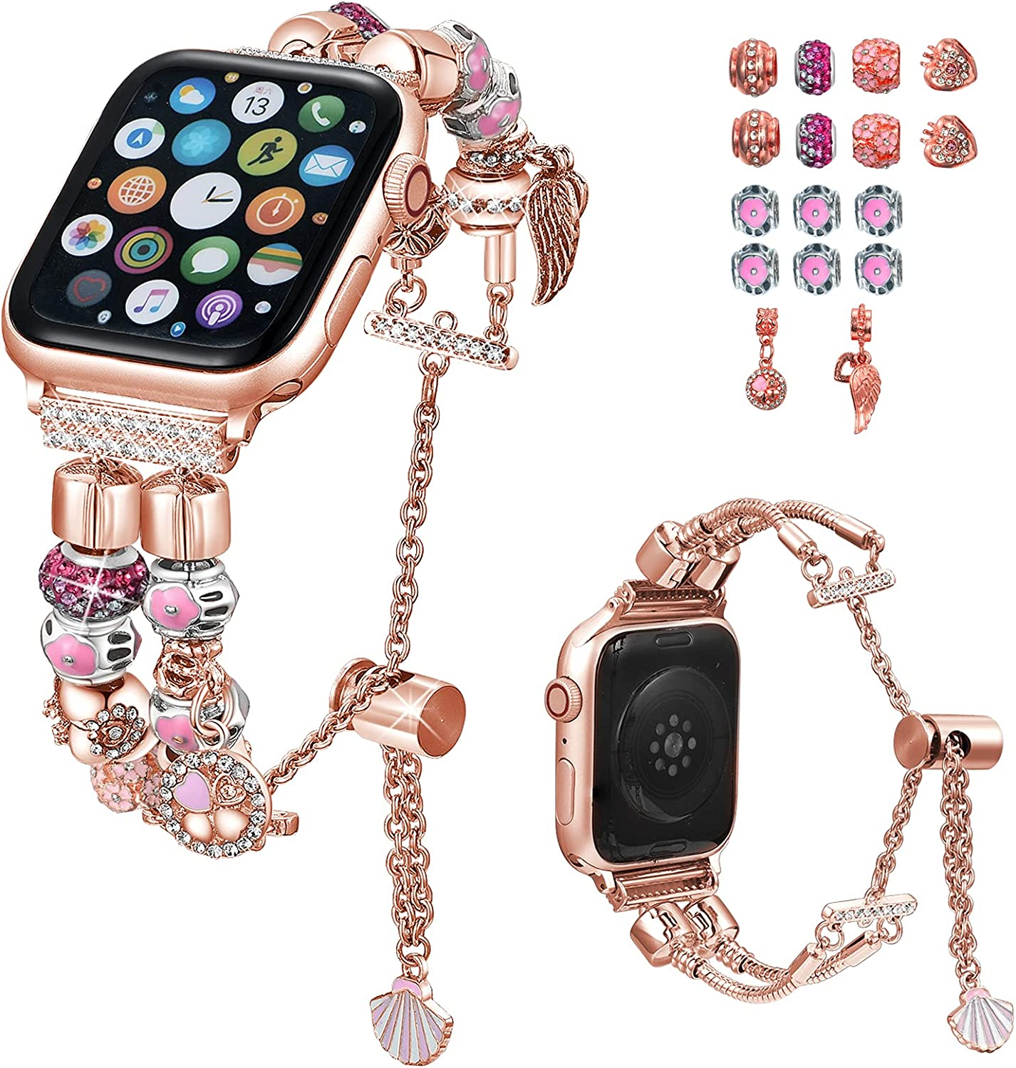 KoudHug DIY Bands Compatible with Apple Watch Bands 38mm 40mm iWatch SE Series 6/5/4/3/2/1, Interchangeable Charms Adjustable Stylish Bling Bracelet for Women