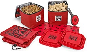 Mobile Dog Gear, Dine Away Dog Travel Bag for Medium and Large Dogs, Includes Lined Food Carriers and 2 Collapsible Dog Bowl, Collapsible Scooper and Placemat, Red