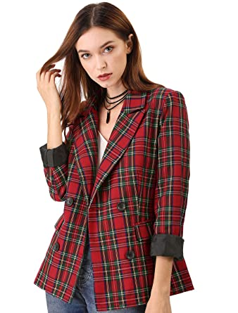 a526244a4047e Allegra K Women's Notched Lapel Double Breasted Plaid Blazer L Red Green