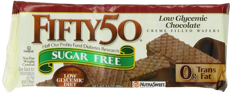 Amazon.com: Fifty-50 Sugar Free Chocolate Wafers, 3.5-Ounce ...