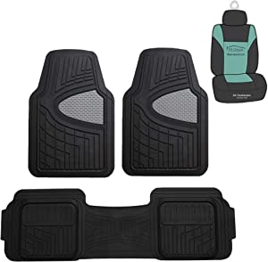 FH Group F11511 Trimmable Heavy Duty Tall Channel Floor Mats (Gray) Full Set with Gift - Universal Fit for Cars Trucks and SUVs