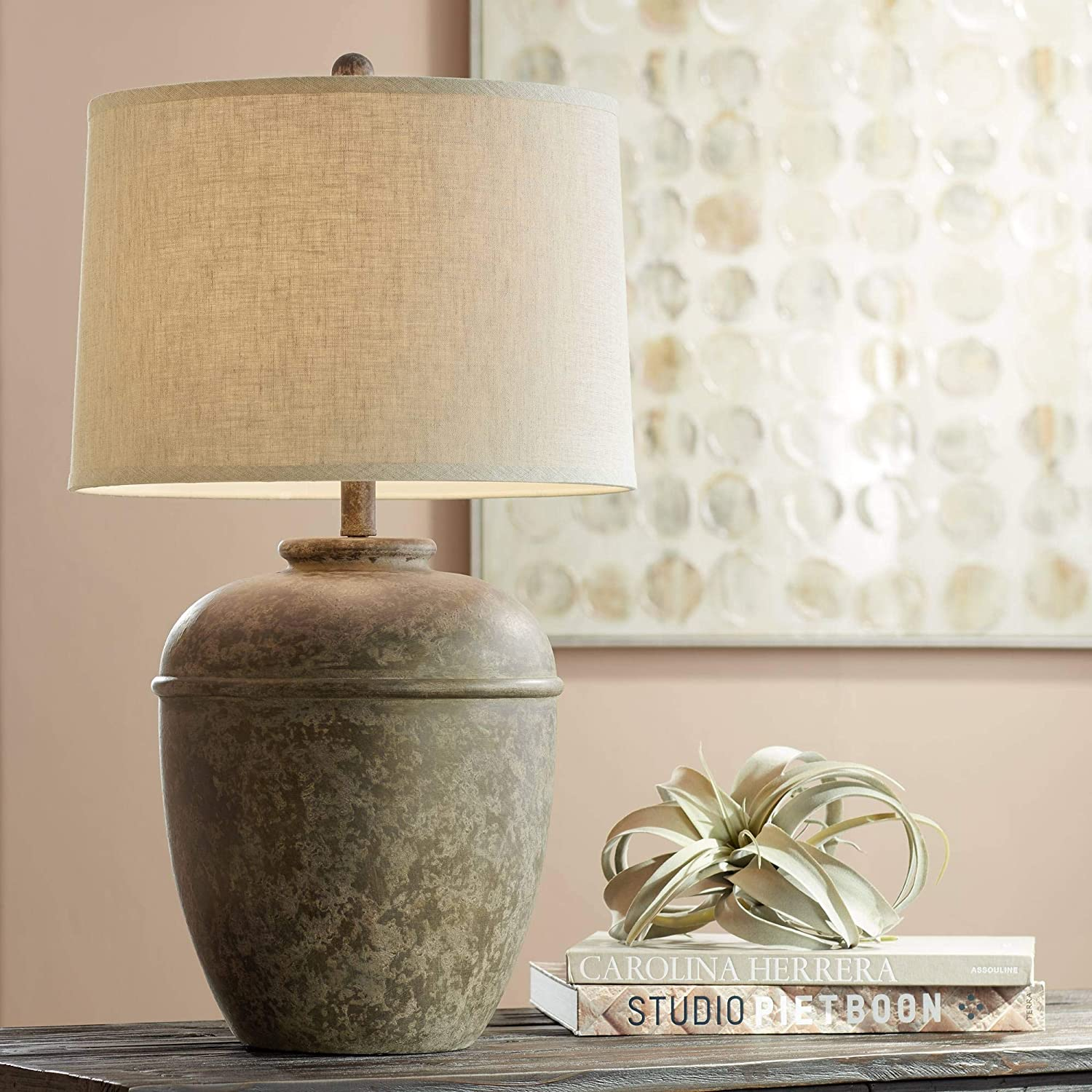 Otero Rustic Table Lamp Southwest Style Faux Mottled Stone Cream Linen Drum Shade for Living Room Bedroom Bedside Nightstand Office Family - John Timberland