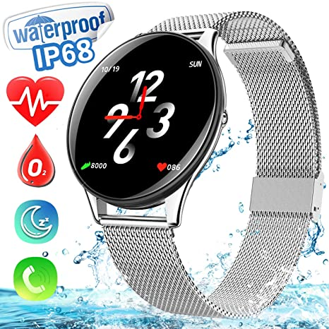 Smart Watch for Android Phone, Dreamoo IP68 Waterproof Blutetooth Smartwatch with Heart Rate Blood Pressure Monitor Fitness Tracker for Men Women ...