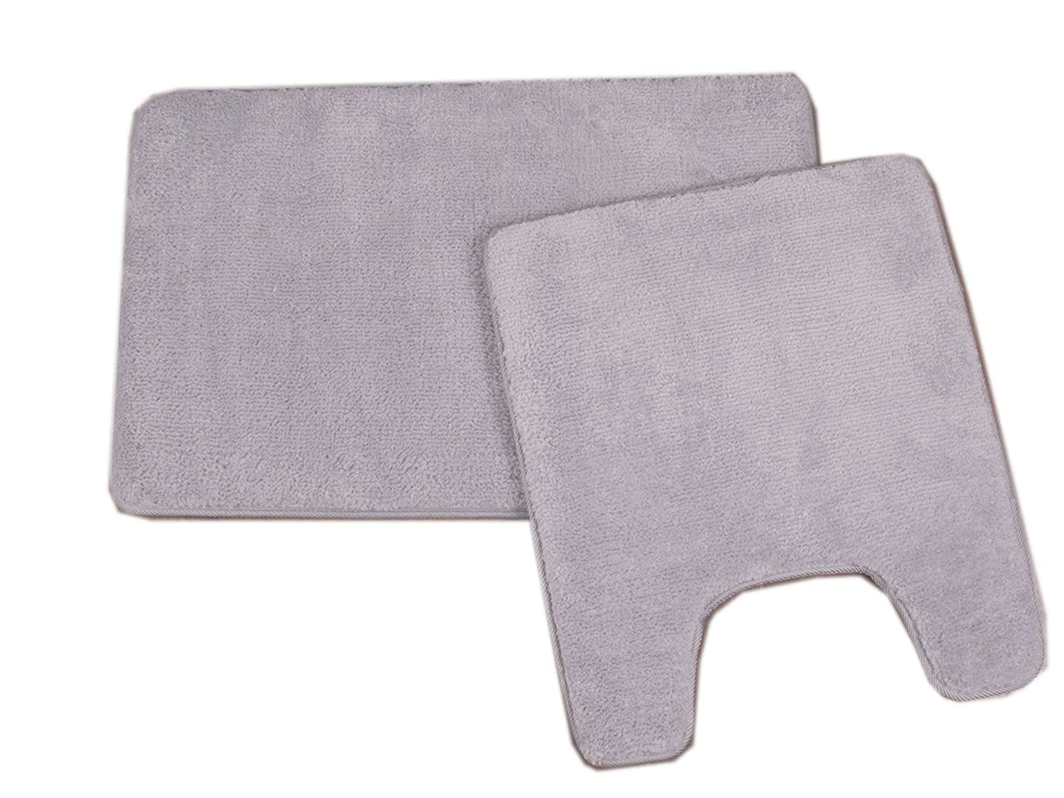 "2 Pc Memory Foam Contour Bath Rug Set 20""x24""+20""x32"" (Grey)"