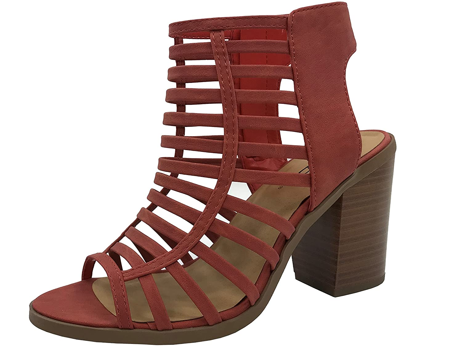 f9bba584e2 Amazon.com | SODA Womens Open Toe Strappy Caged Sandal Ankle Strap Chunky  Mid Heel | Heeled Sandals