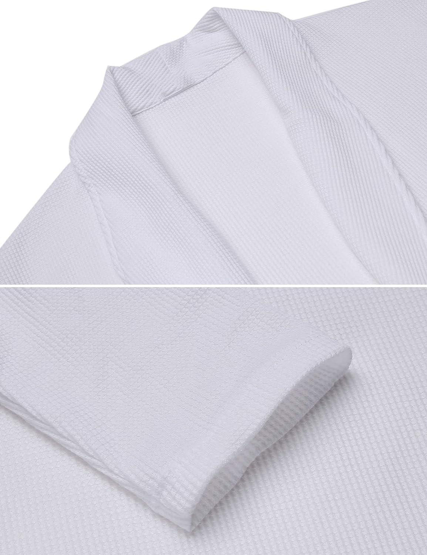 71a8eeb2ced6e3 Heimtextilien, Bad- & Bettwaren Damen Bademantel Baumwolle Langarm  Morgenmantel Waffelpique V Kragen Kimono Saunamantel Robe mit Taschen Grau  Weiß Navy Blau