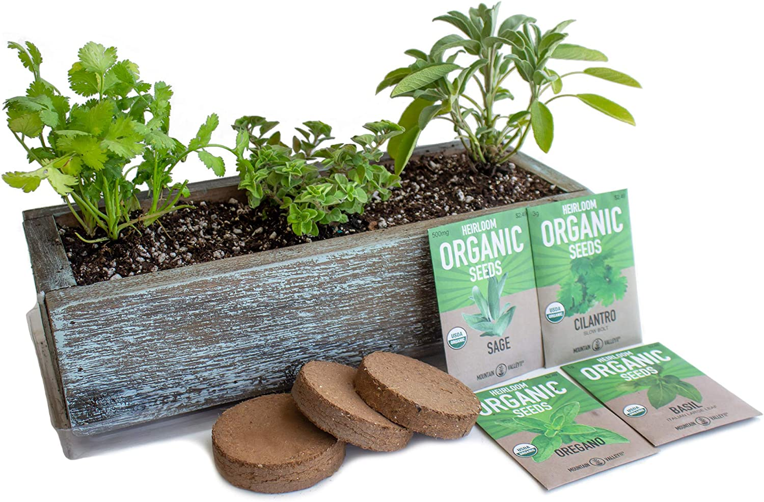 Culinary Indoor Herb Garden Kit with Reclaimed Barnwood Style Planter - Aged Brown - Grow Cooking Herbs - Non-GMO, Organic Seeds: Basil, Cilantro, Oregano & Sage - Windowsill Herb Gardening