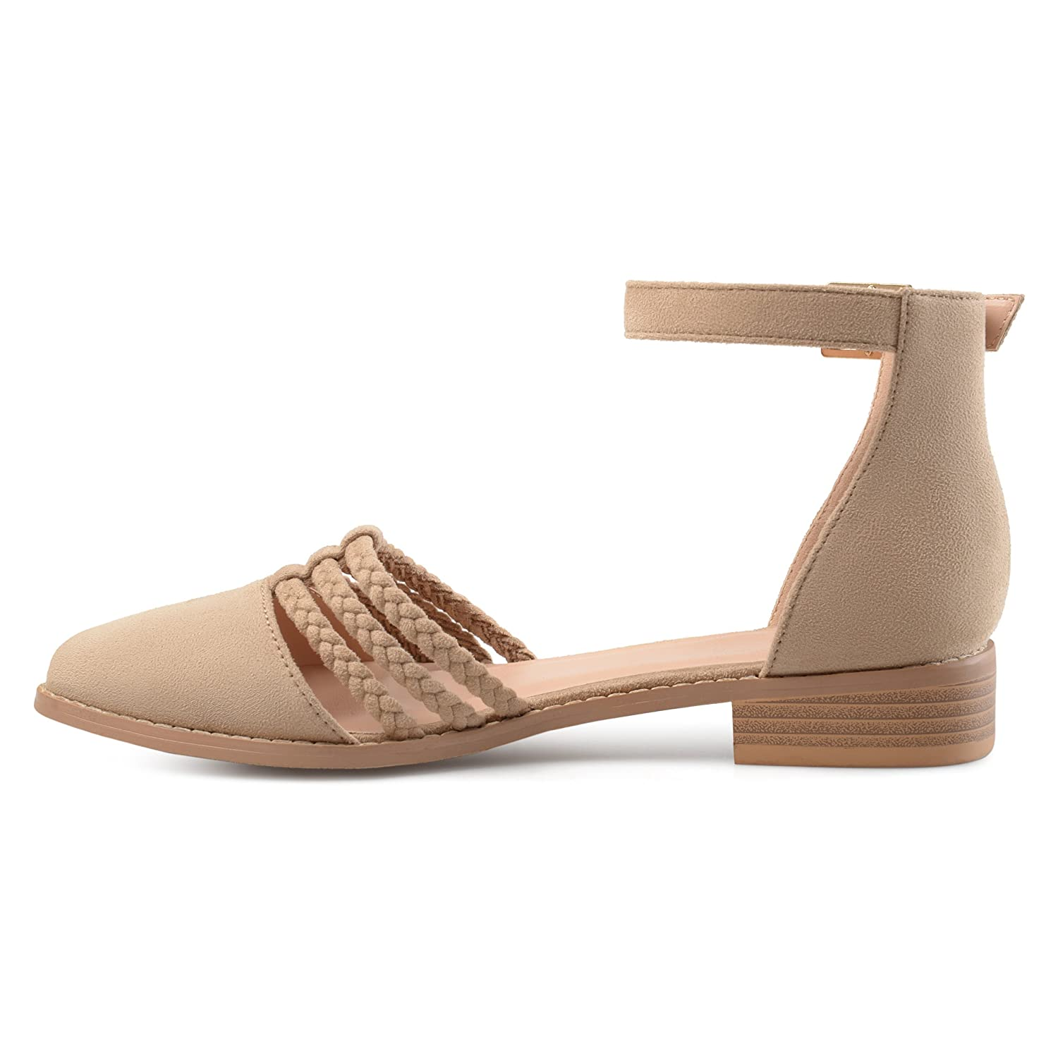 Womens Anette Faux Suede Ankle Wrap Braided Rope Flats Brinley Co