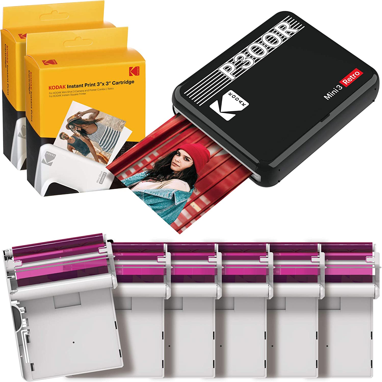 """Kodak Mini 3 Retro Square Retro Impresora Fotográfica Portátil, Compatible con Dispositivos iOS, Android y Bluetooth, Foto Real 3""""x3"""", 4Pass y Proceso Laminación, 68 Fotos – Negro"""