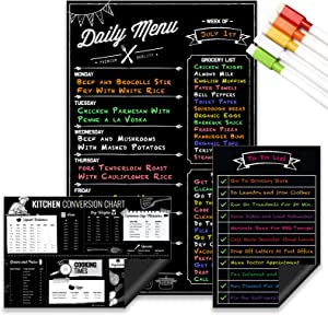 "Magnetic Dry Erase Menu Board, Kitchen Conversion and to Do List Set for Kitchen Fridge - 11""x17"" Weekly Meal Planner Blackboard - 9""x6"" Cooking Times Chart - 9""x6"" to Do List, Grocery Magnet"