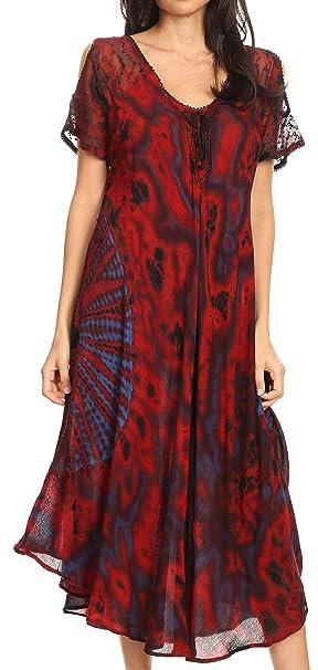 14cde6136a888 Sakkas 18682 - Ada Women Cold Shoulder Caftan Relax Long Maxi Dress on  Tie-dye