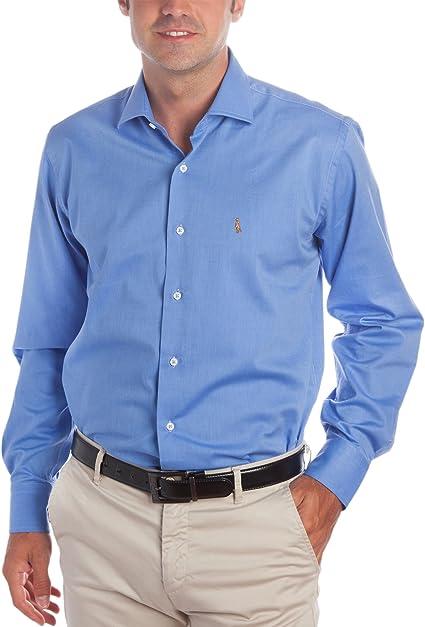 Deep Brody Camisa de Hombre Deep Frost Elegance Italia. Puro algodón de Color Azul. Cuello francés, Manga Larga y Logo Bordado en el Pecho. Fit ...