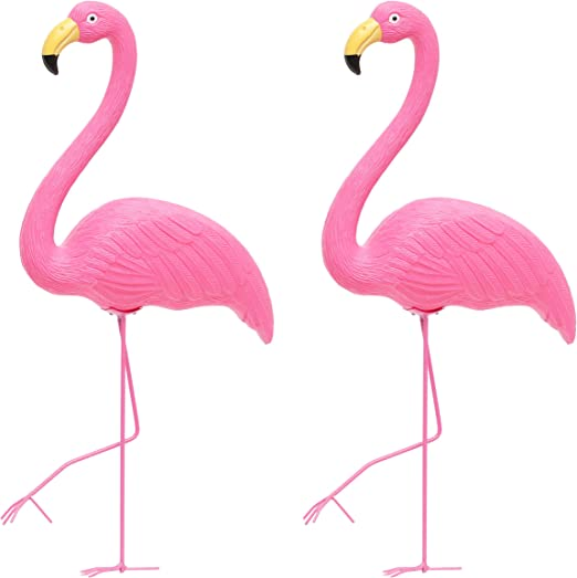 Adornos de plástico para jardín, diseño de flamencos rosas, rosa: Amazon.es: Jardín
