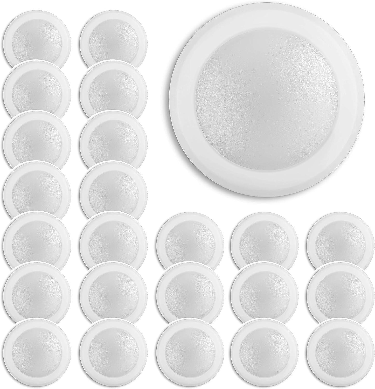 "(24 Pack) 7.5"" Slim Dimmable geführt Disklight, 4 & 6 J-Kasten Flush Mount Ceiling Light, 15W (75W Equivalent), 1100Lm, 5000K Bright White, Matte Finish mit Plastic Shade, Ul Listed"