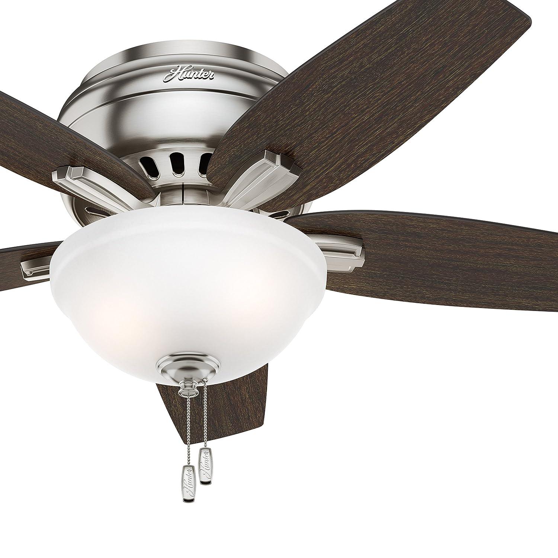 Hunter Fan 42 Hugger Ceiling Fan in Brushed Nickel with Cased White Glass Light Kit, 5 Blade Renewed