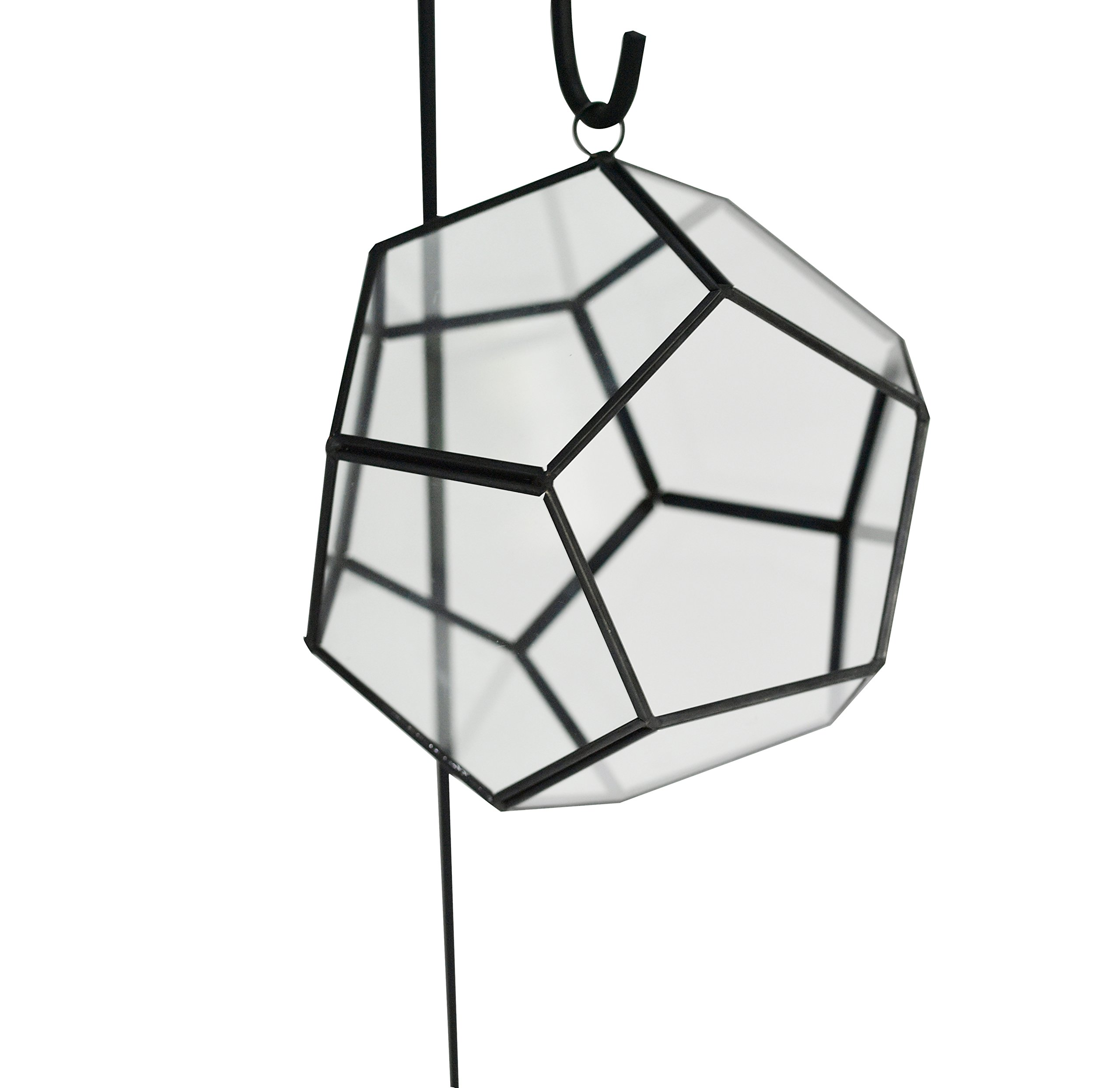 Geometric Globe Shape Glass Prism Terrarium with Black Rim / Air Plant Display Case / Tea Light Candle Holder (display hanger not included) - by Home-X