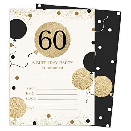 60th Birthday Style 1 Happy Birthday Invitations Invite Cards (25 Count) With Envelopes and Seal Stickers Vinyl Girls Boys Kids Party (25ct)