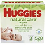 Huggies Natural Care Unscented Baby Wipes, Sensitive, 3 Refill Packs (528 Wipes)