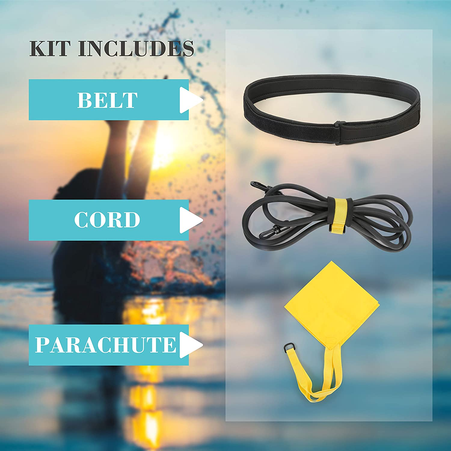 - Adult Pro Amateur use with Drag Parachute and Elastic Tether Swim Bungee Training Belt for Stationary Resistance Training//Endless Pool Kid RitFit Swimming Resistance Belt