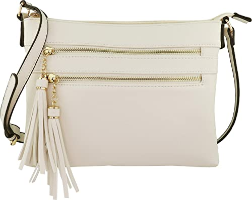 9bde06312733 B BRENTANO Vegan Multi-Zipper Crossbody Handbag Purse with Tassel Accents  (Beige)