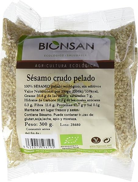 Bionsan Sésamo Crudo Pelado - 6 Paquetes de 300 gr - Total ...