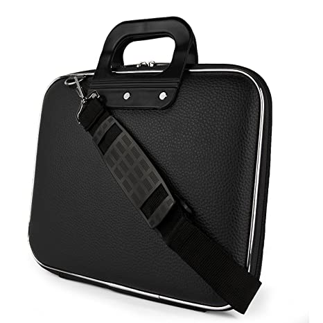 SumacLife Cady Collection Durable Briefcase Carrying Case with Removable Shoulder Strap for 15.6 in Laptops / Notebooks (Black) Laptop Briefcases at amazon